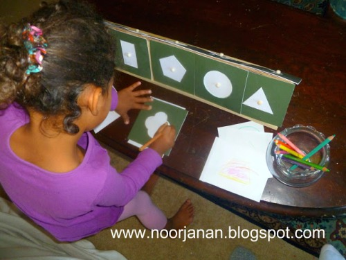 Geometric Shapes and Shelf (shelf made using a hot glue gun – no nails or screws) - Photo by Noor Janan Homeschool
